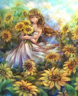 Фото Девушка стоит в подсолнуховом поле с букетом в руках, by tandolcedeco