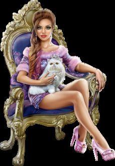 Фото Гламурная девушка сидит в кресле с котом
