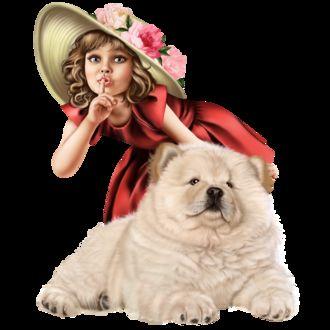 Фото Голубоглазая девочка-милашка в шляпе украшенной цветами с собакой