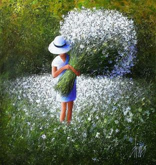 Фото Девочка в шляпе с огромным букетом цветов, стоит на поляне, художник Dima Dmitriev / Дима Дмитриев