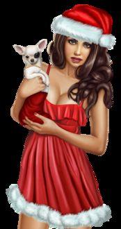 Фото Гламурная девушка-милашка в костюме снегурочки с собачкой на руках
