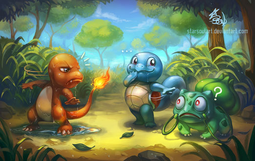 ���� ������� / Squirtle, ���������� / Bulbasaur � ��������� / Charmander �� ���� Pokemon / �������, by StarSoulArt
