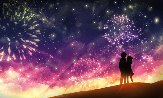 Фото Силуэты парня и девушки, смотрящих на фейерверки в ночном небе, by Erisiar