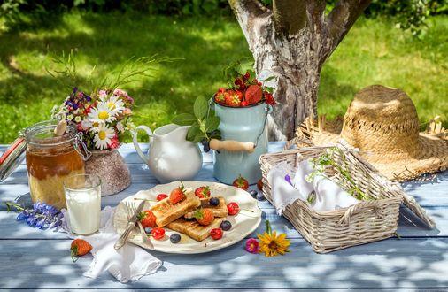Фото Завтрак на природе, натюрморт с ягодами, цветами и медом
