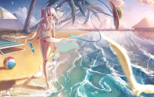 Фото У девушки на пляже, увидевшей в морских волнах бутылку, улетела шляпа, art by Shon