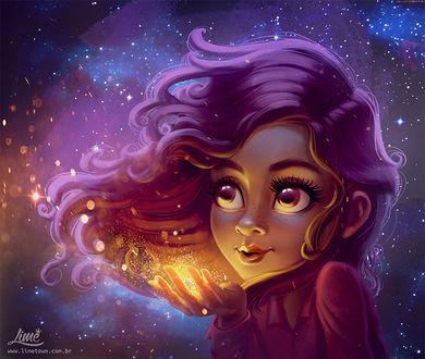 Фото Девушка сдувает с ладоней золотые звездочки, by AmandaDuarte