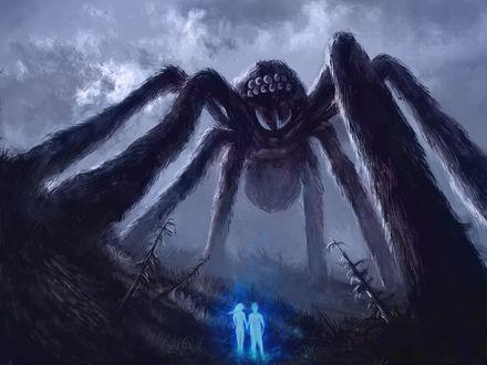 Фото Парень с девушкой стоят перед огромным пауком, by Casselloma