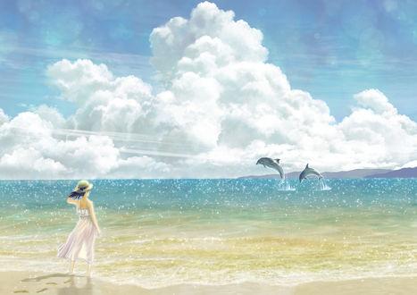 Фото Девушка в шляпке и белом платье смотрит на резвящихся в море дельфинов, by KUN