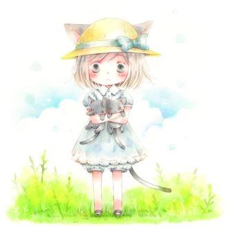 Фото Неко-девочка в шляпке держит на руках двух котят, стоя в зеленой траве на фоне облачного неба, by Mondgarten