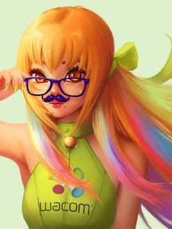 Фото Девушка с разноцветными волосами в очках и с усиками (wacom), by AyyaSap