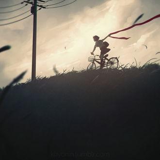 Фото Девушка едит на велосипеде, by Koyorin