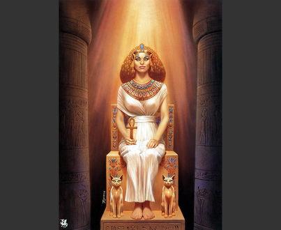 Фото Древнеегипетская богиня Бастет сидит на троне