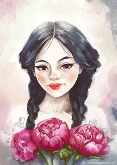 Фото Темноволосая девушка с букетом розовых пионов, by Meggie-M