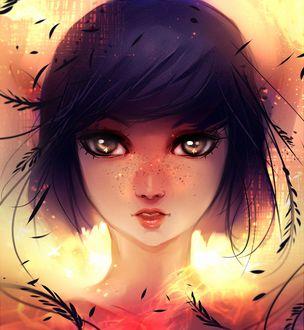 Фото Темноволосая девушка с серыми глазами на фоне огня, by ryky