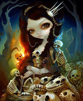 Фото Черноволосая девушка с короной на голове, с карими глазами в окружение черепов и скелетов, художник Jasmine Becket-Griffith / Жасмин Бекет-Гриффит