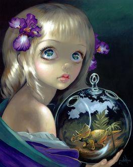 Фото Девушка со светлыми волосами, с голубыми глазами держит стеклянный шар, в котором динозавр, художник Jasmine Becket-Griffith / Жасмин Бекет-Гриффит