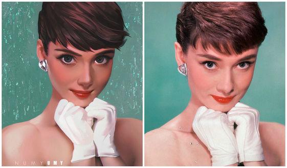 Фото Art vs Reality - Audrey Hepburn / искусство против реальности - Одри Хепберн, by NUMYUMY