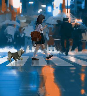 Фото Школьница с собакой переходят дорогу, by snatti