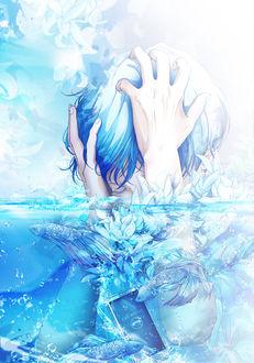 Фото Парень обхватил голову руками, стоя под водой, by ポウ(call ended)