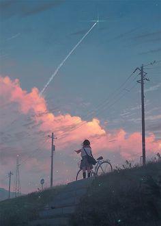 Фото Девушка стоит с велосипедом и смотрит на облачное небо, by GUWEIZ