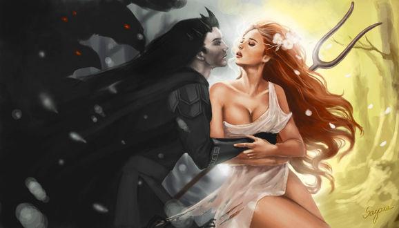 Фото Темноволосый демон обнимает девушку