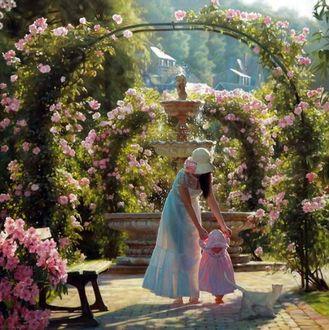 Фото В летнем саду белый котик наблюдает, как маленькая девочка делает свои первые в жизни шажки с помощью мамы, художники Мария Бухтиярова и Андрей Беличенко