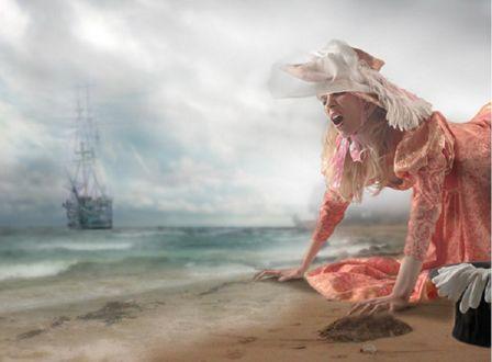 Фото Девушка в розовом платье и шляпе плачет на песчаном берегу на фоне уходящего в море парусного судна, работа Andrey Razoomovsky / Андрея Разумовского