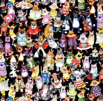 Фото Великое множество веселых нарисованных котов в разных костюмах