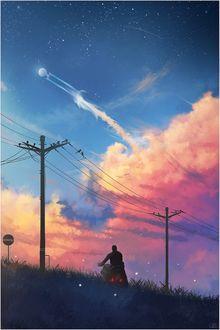 Фото Парень на мотоцикле смотрит на облачное небо, by Sindrandi