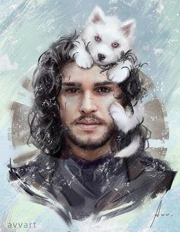 ���� ���� ���� / Jon Snow, ���� ��������� ��� ��������� / Keith Harrington, � ����� ��������� ��������� / Ghost �� ������� ���� ��������� / Game of Thrones, by Avvart