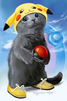 Фото Серый кот в желтых кедах и шапочке в виде мордочки Пикачу, держит в лапках покебол, by Kajenna