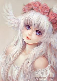 Фото Белокурая девушка, из головы которой растут крылья, by Red-Priest-Usada