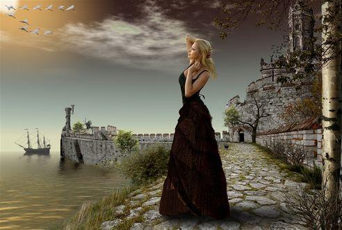 Фото Девушка в длинном платье провожает взглядом клин журавлей, фотограф Серега Сергеев