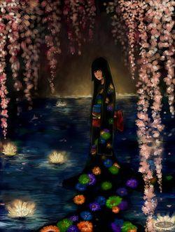 Фото Восточная девушка в черном платье с цветами, стоит под ветками цветущей сакуры на воде, со светящимися лилиями, by DZIU09