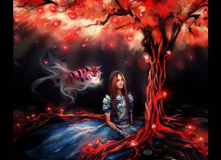 Фото Девушка Алиса сидит под деревом, покрытом светящимися красными грибами, с цветами на кроне в виде красных сердечек и витающем в воздухе улыбающимся Чеширским Котом, сказка Алиса в Стране чудес