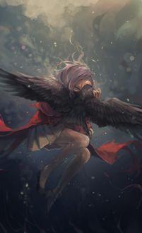 Фото Девушка с вороном под водой, by Nyanfood