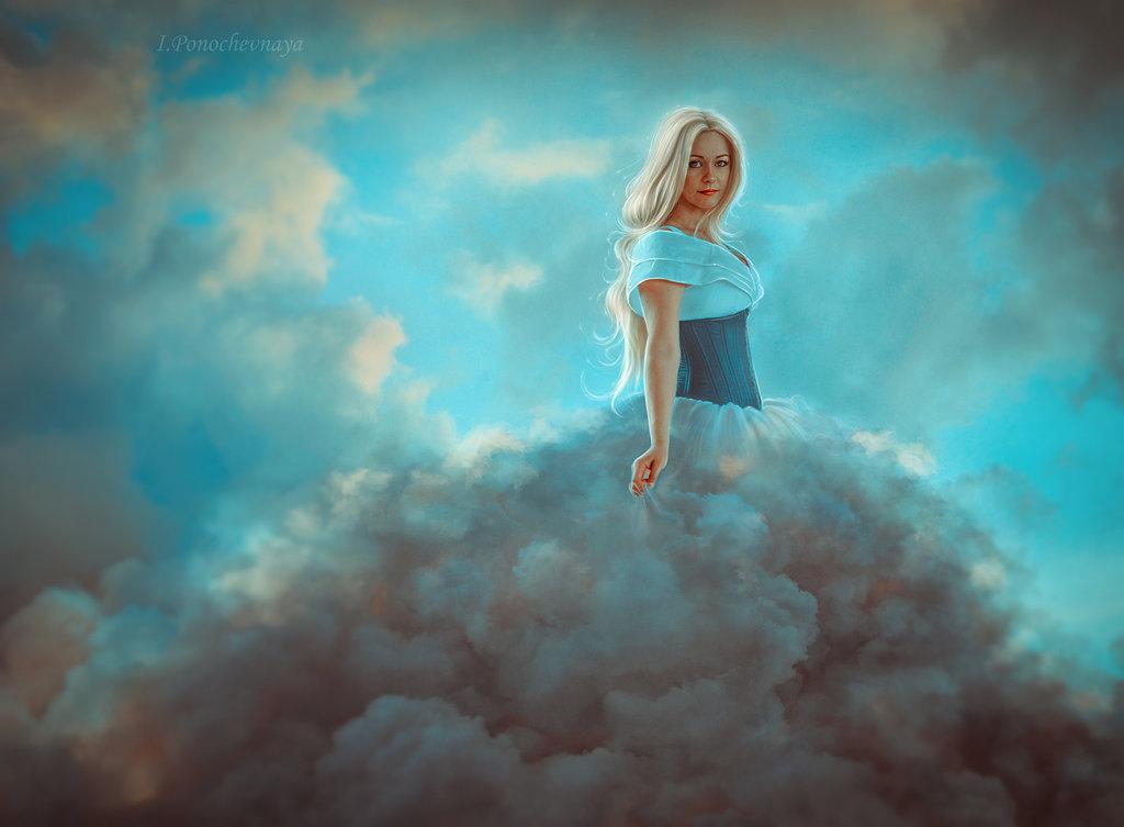 Девушка витает в облаках картинки