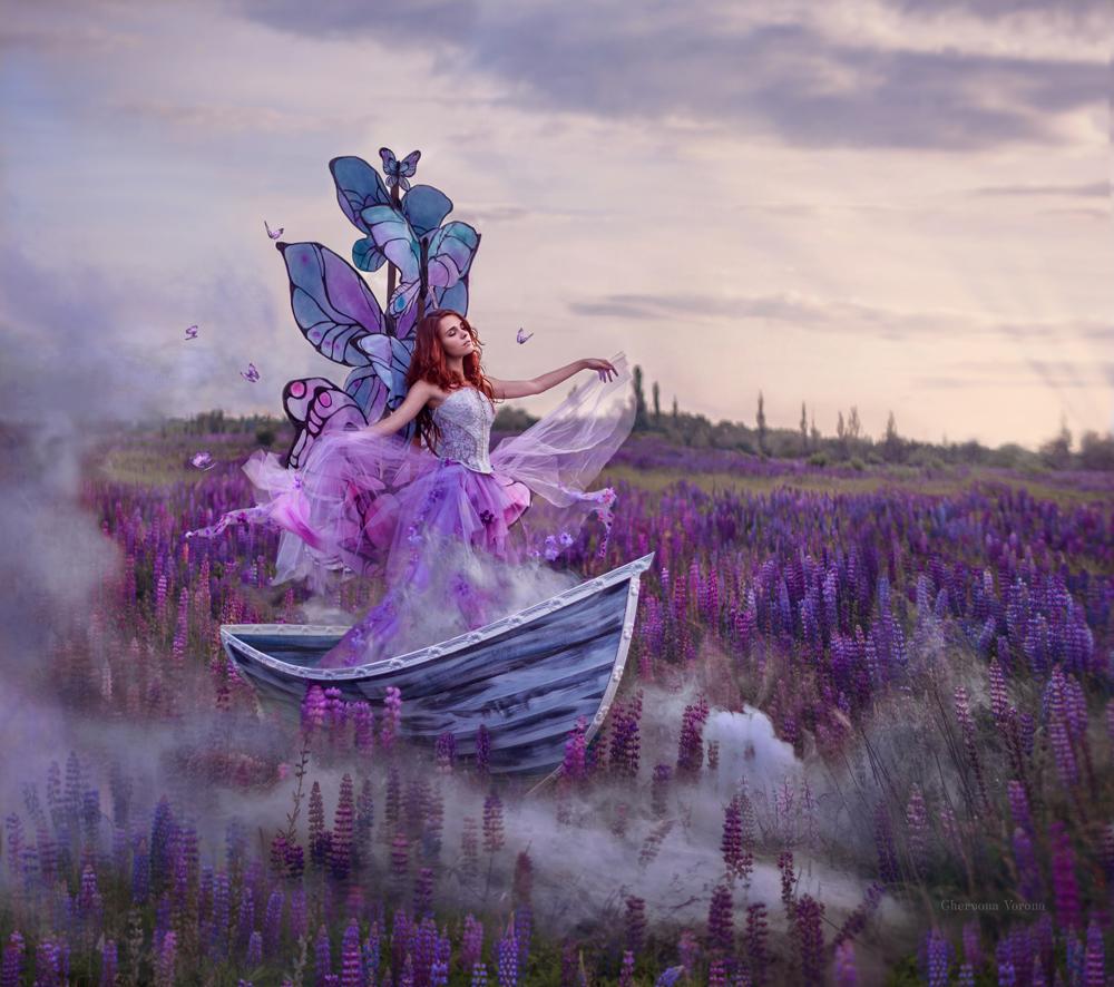 Princess butterfly / принцесса бабочек, девушка с бабочками в лодке на цветочном поле, by chervona