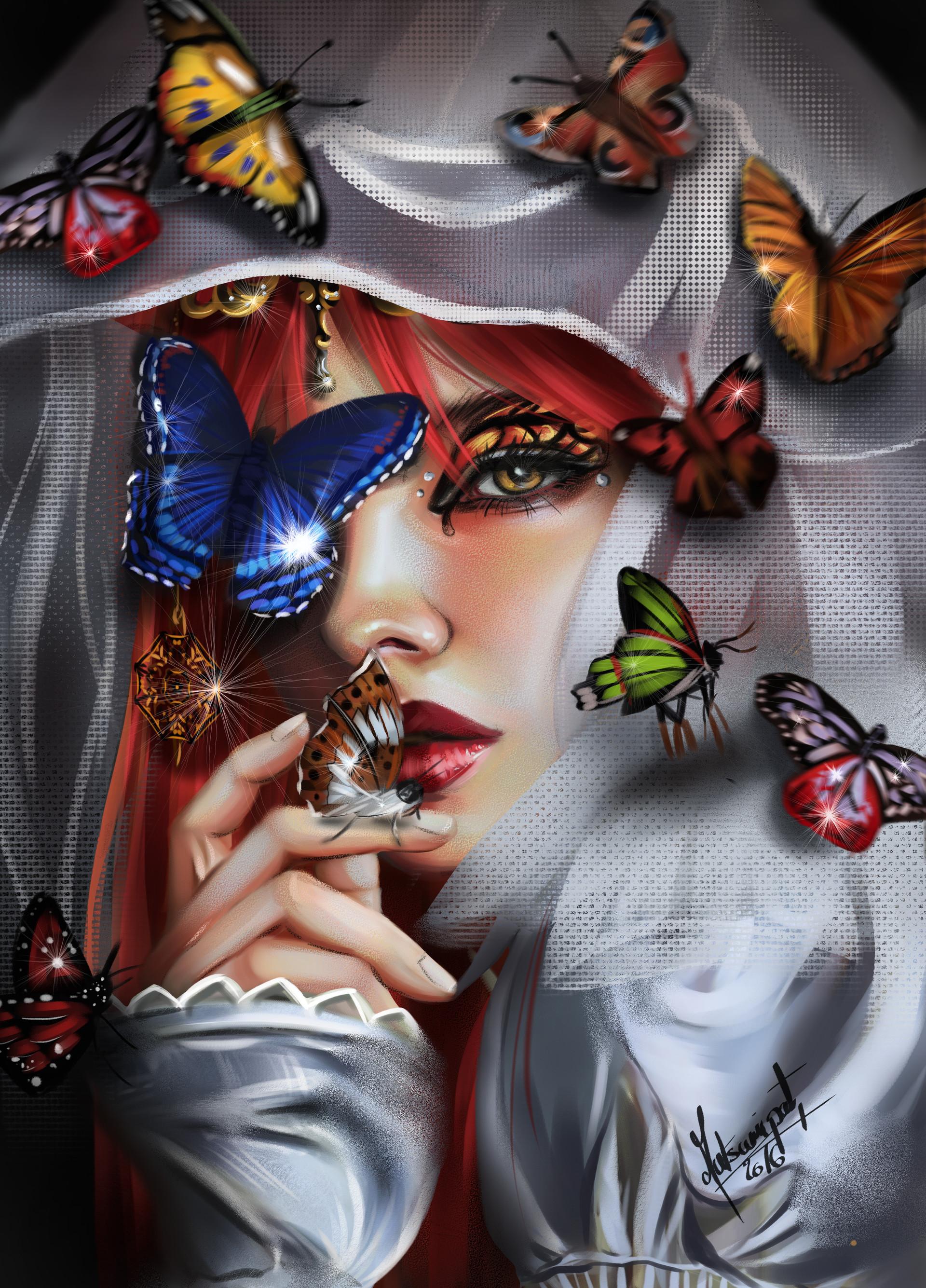 Девушки и бабочки картинки