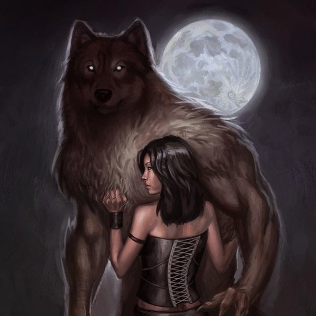 Фото Девушка с оборотнем стоят под луной в обнимку