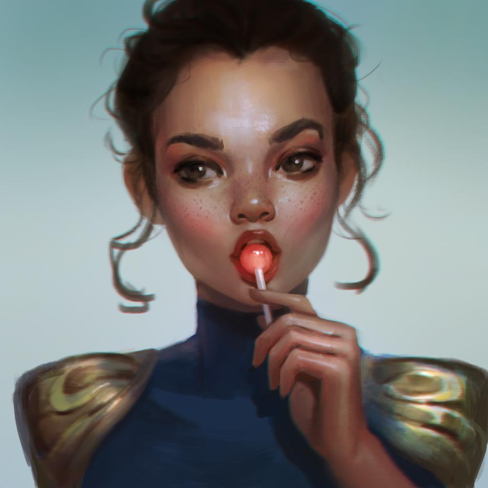 Девушка с чупачупсом рисунок