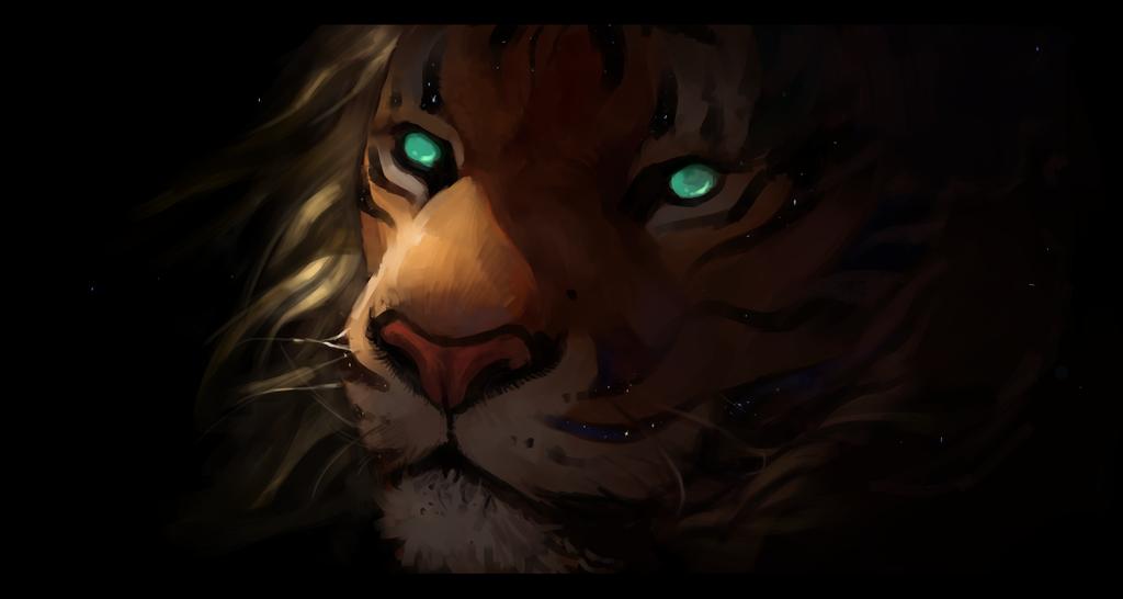 Фото Морда тигра с зелеными глазами, by Salamandra