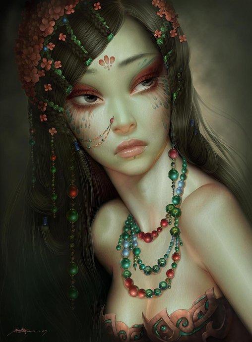 Фото Восточная девушка в украшениях и рисунком на, by ...: http://photo.99px.ru/photos/255056/