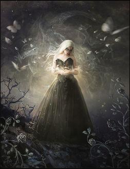 Фото Девушка в длинном черном платье склонила голову и смотрит на разлетающихся бабочек, by 1simplemanips1