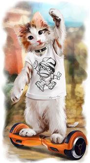 Фото Работа Street style / городской стиль, современный кот в футболке, подняв вверх переднюю лапу, едет на сигвее, by Kajenna