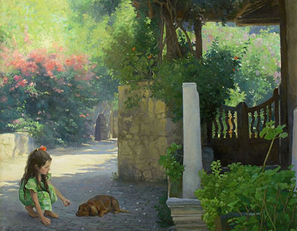 Фото Девочка в зеленом платье сидит рядом с лежащей коричневой собакой на фоне беседки и цветов, художница Татьяна Доронина
