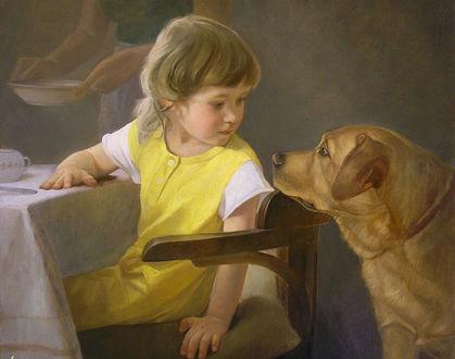 Фото Девочка в желтом платье сидит за столом и смотрит на коричневую собаку, художница Татьяна Доронина
