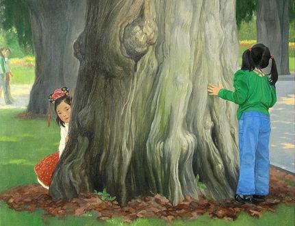 Фото Дети играют в прятки у ствола дерева, художница Татьяна Доронина