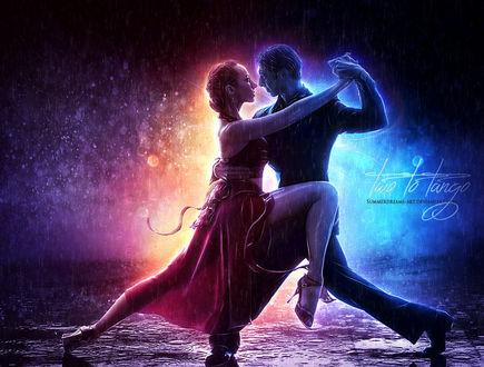 Фото Парень с девушкой танцуют танго под дождем, by SummerDreams-Art