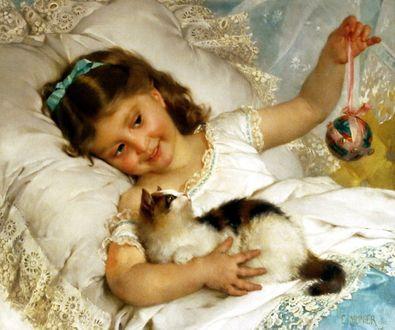 Фото Девочка с темными волосами лежит на кровати и играет с котенком, французский художник Émile Munier / Эмиль Мунье/